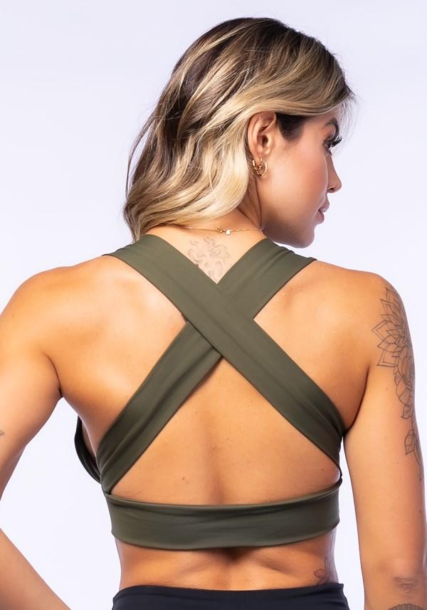Top fitness drapeado verde militar com bojo