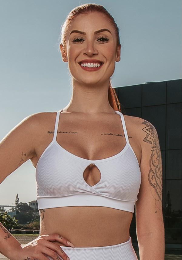 Top fitness energy abertura frontal branco