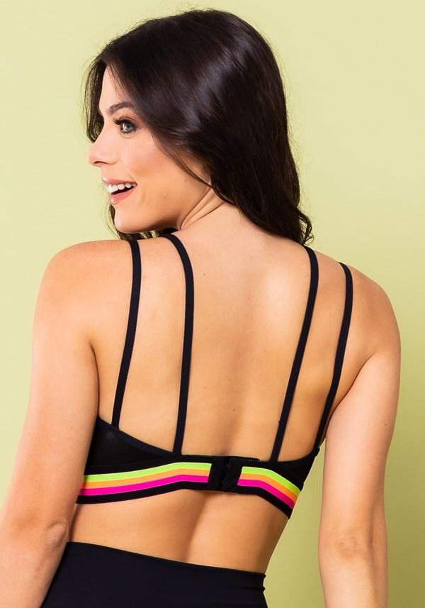Top fitness energy cirrê preto com elástico colorido