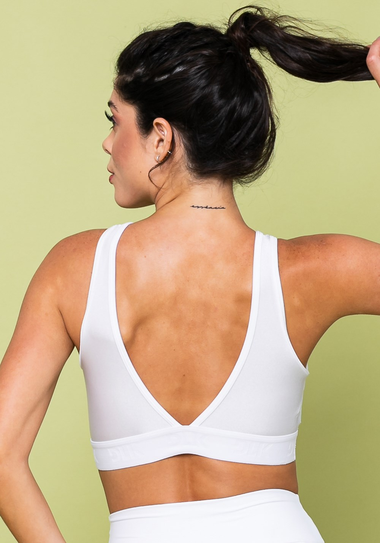 Top fitness energy com decote em tela branco
