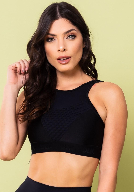 Top fitness energy com decote em tela preto