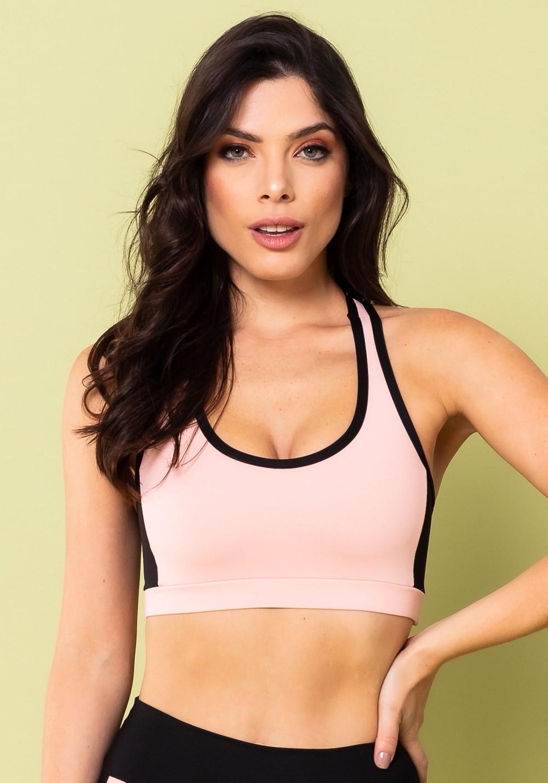 Top fitness energy nadador rosa bebê com preto