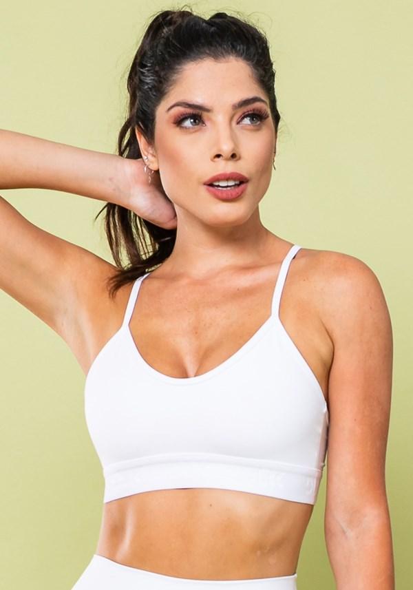Top fitness energy poliamida com elástico branco