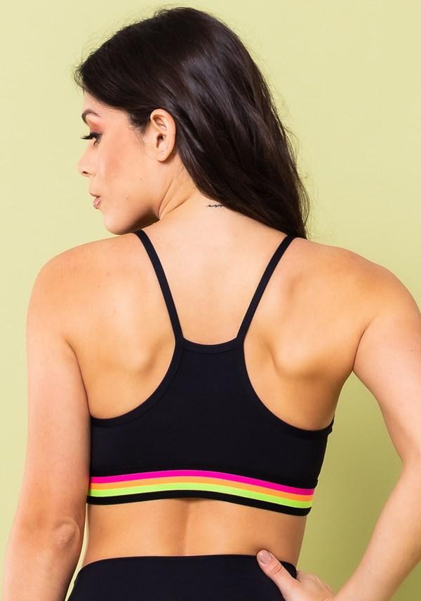 Top fitness energy poliamida preto com elástico colorido