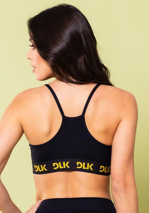 Top fitness energy poliamida preto com elástico detalhe amarelo