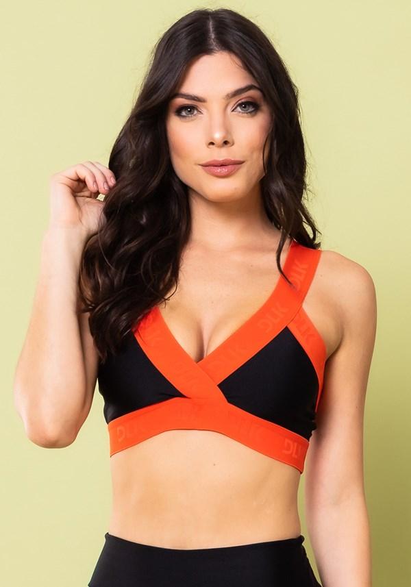 Top fitness energy preto com elástico transpassado laranja