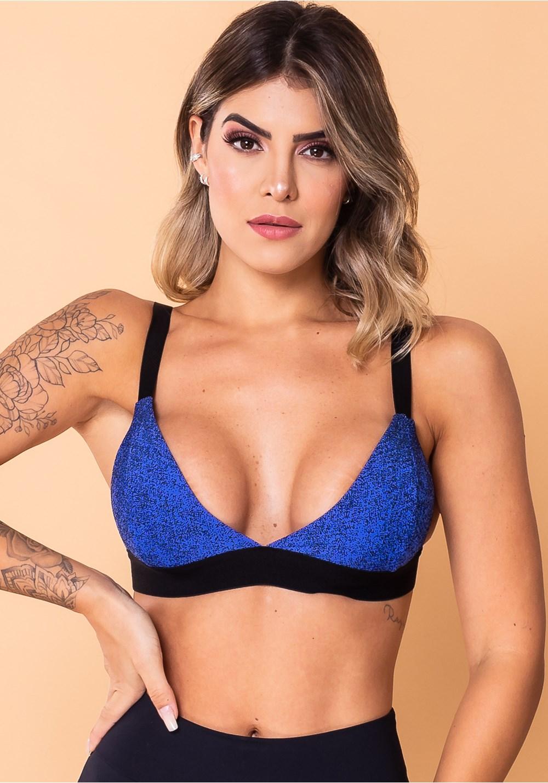 Top fitness jacquard azul degradê com elástico