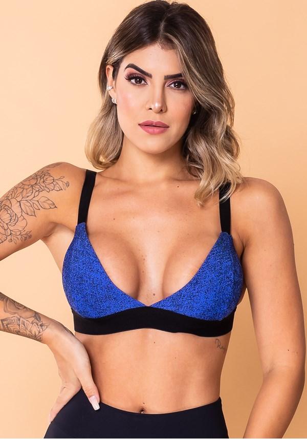 Top fitness jacquard azul degradê com elástico