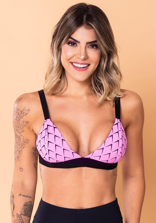 Top fitness jacquard escama rosa com elástico
