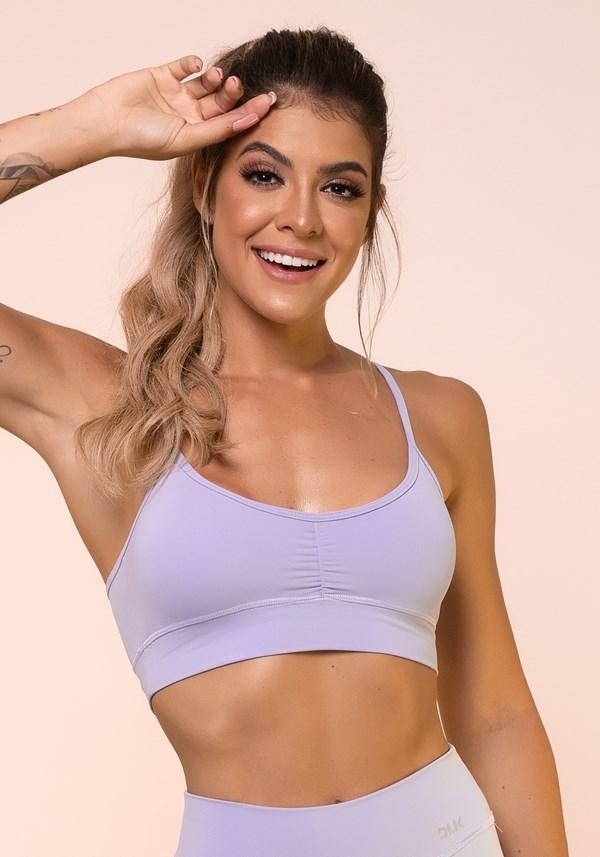 Top fitness lilás franzido básico