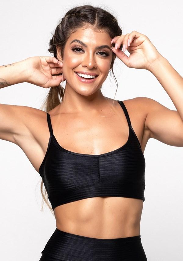 Top fitness poliamida preto luxe shine