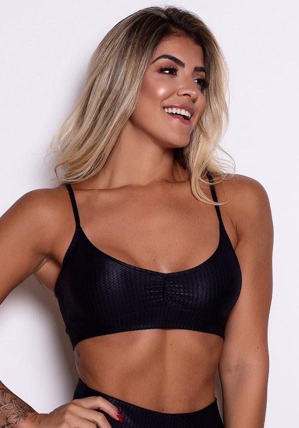 Top fitness poliamida preto texturizado com brilho