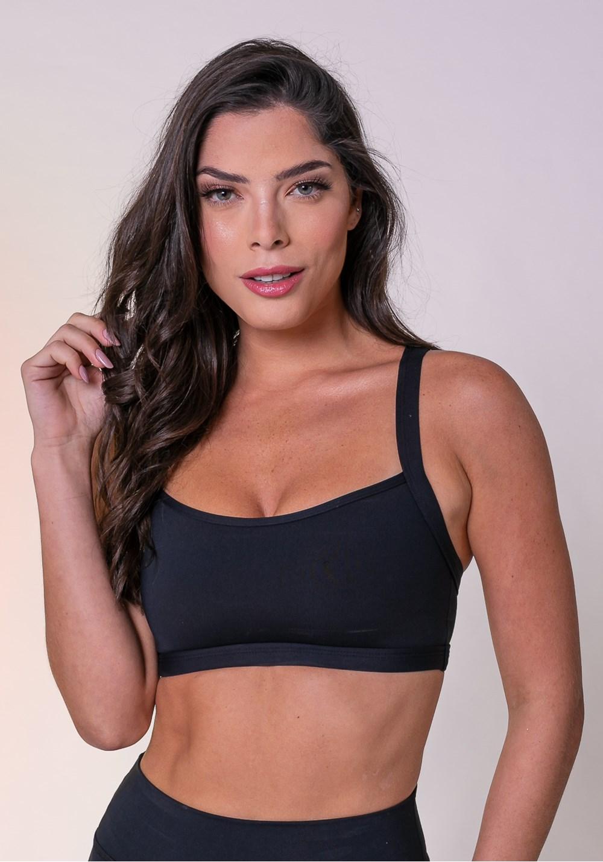 Top fitness preto alça longa básico