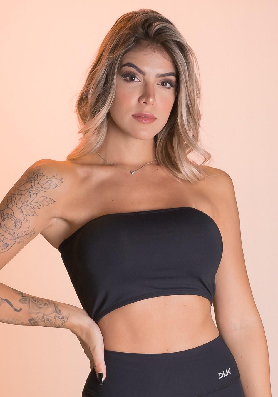 Top fitness preto faixa com bojo básico