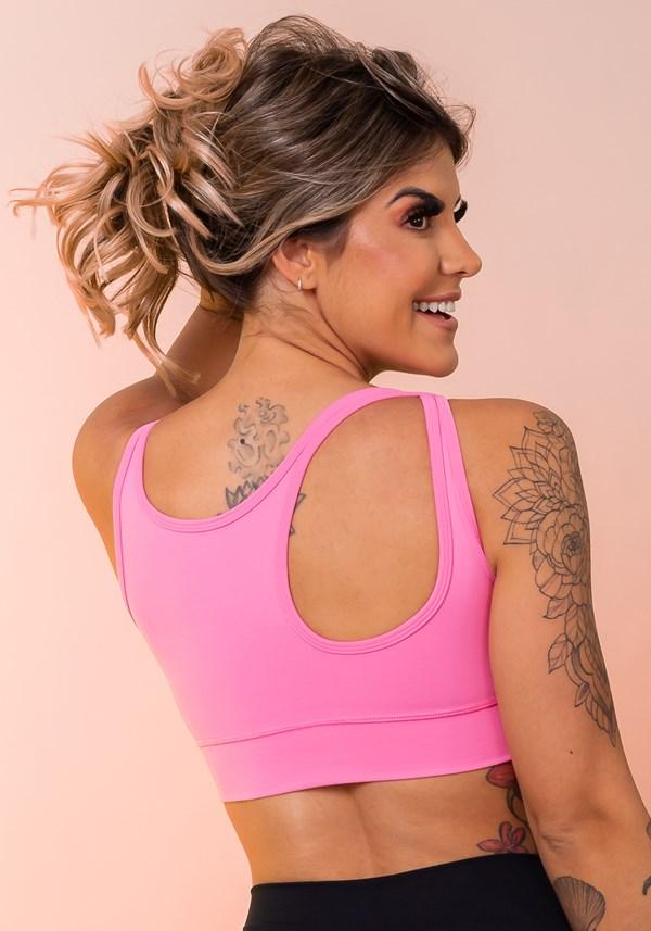 Top fitness rosa assimétrico básico