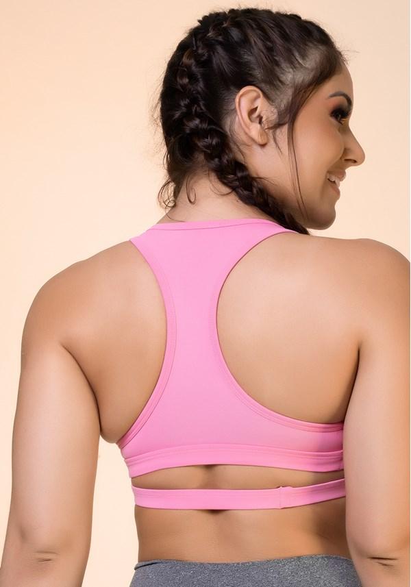 Top fitness rosa chiclete nadador com tira básico