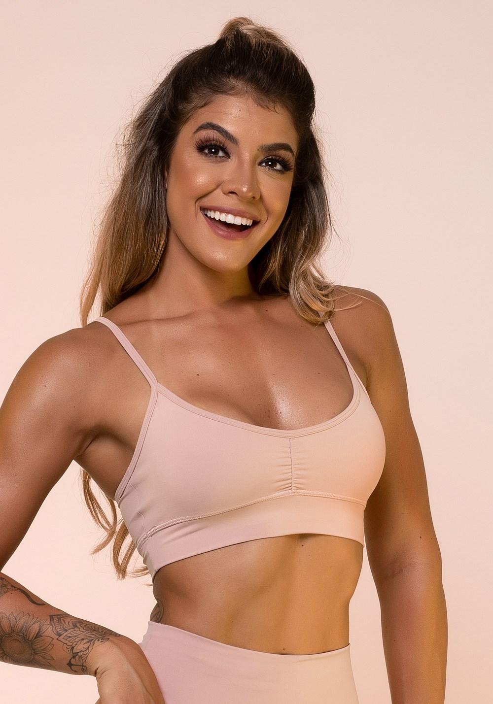 Top fitness rosa claro franzido básico