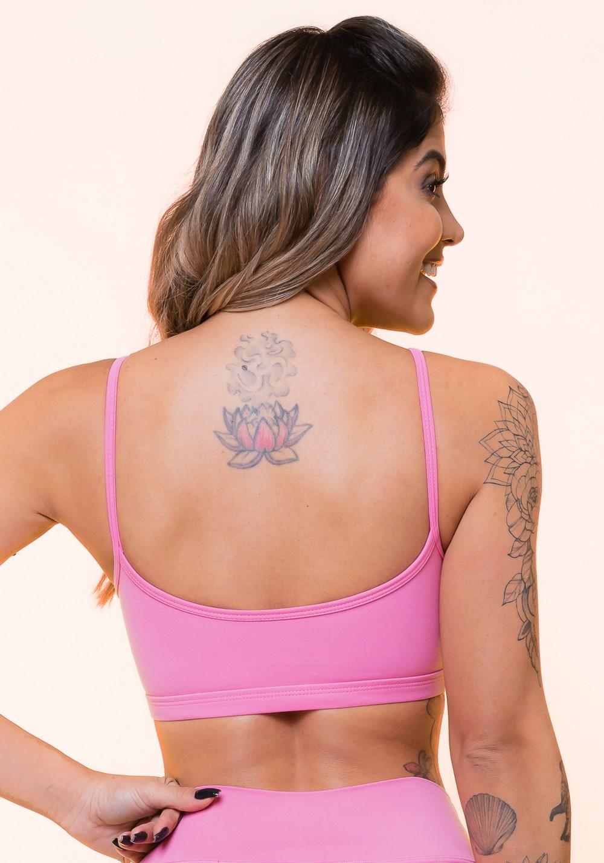 Top fitness rosa com tiras básico