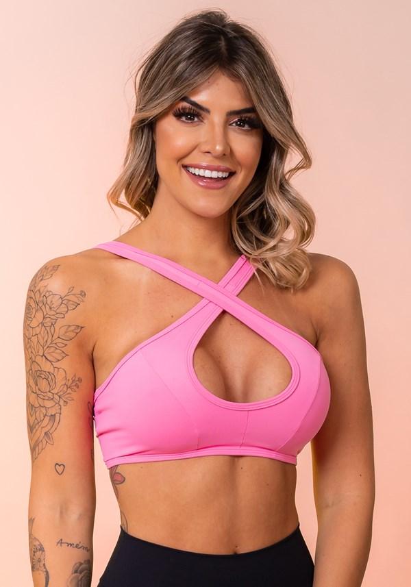 Top fitness rosa cruzado básico