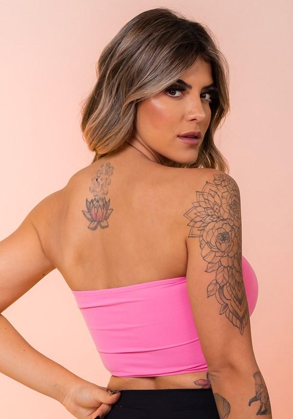 Top fitness rosa faixa básico