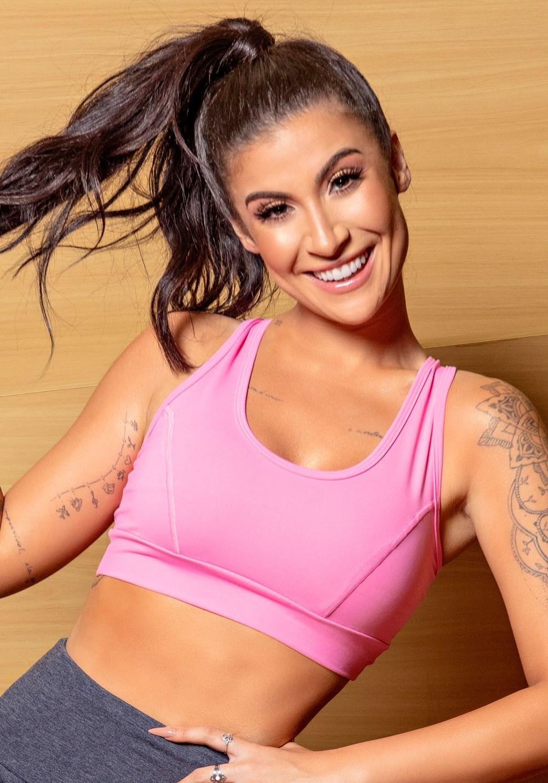 Top Fitness Rosa Nadador Com Recortes Básico