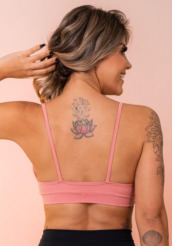 Top fitness rosê busto com recorte básico