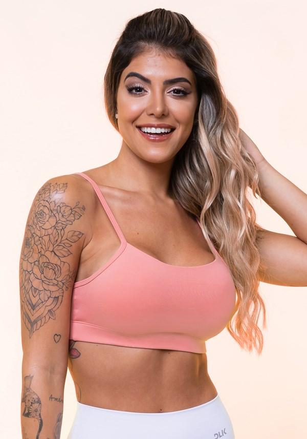 Top fitness rosê com alças finas e bojo básico