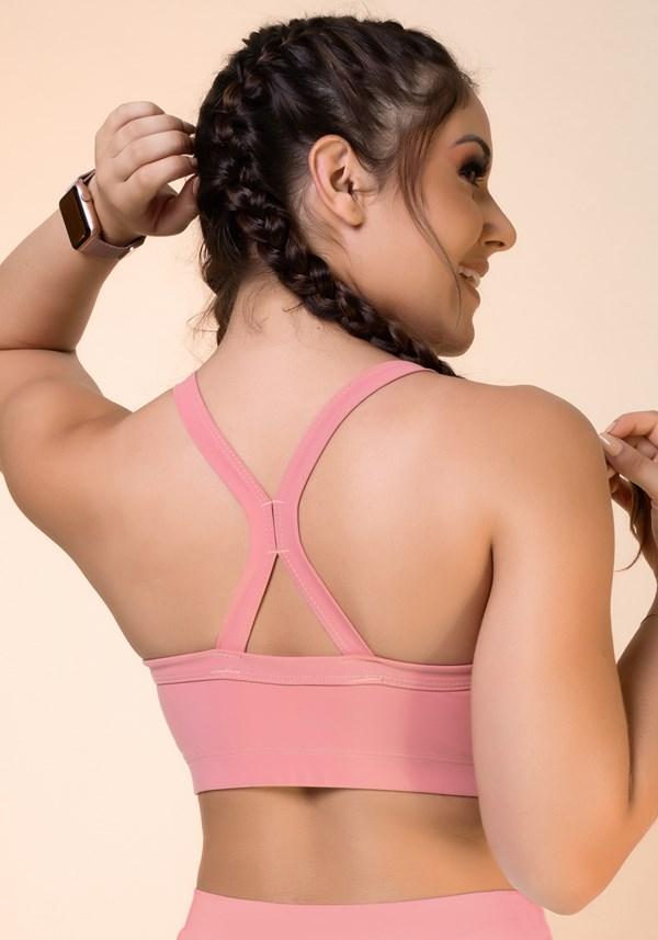 Top fitness rosê com recorte e tiras básico