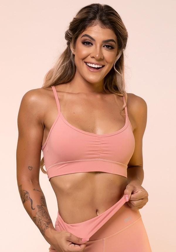 Top fitness rosê franzido básico