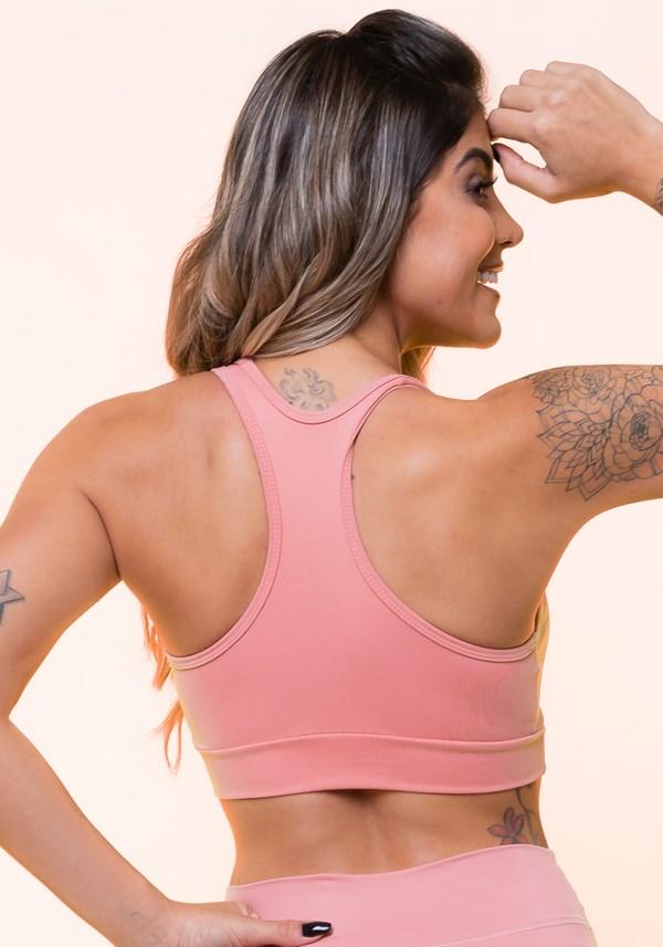 Top fitness rosê nadador com recortes básico