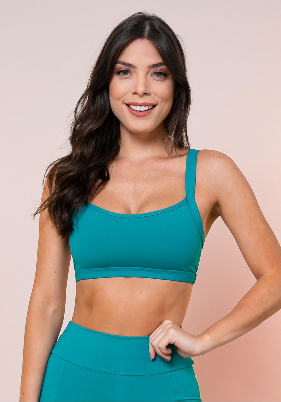 Top fitness verde alça longa básico