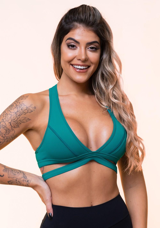 Top fitness verde nadador com tira básico