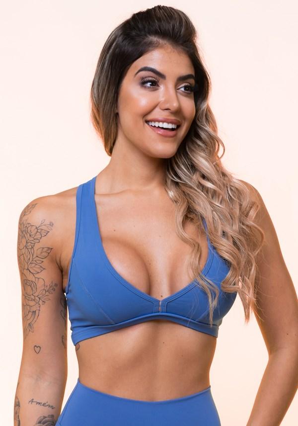 Top nadador com recortes azul claro básico