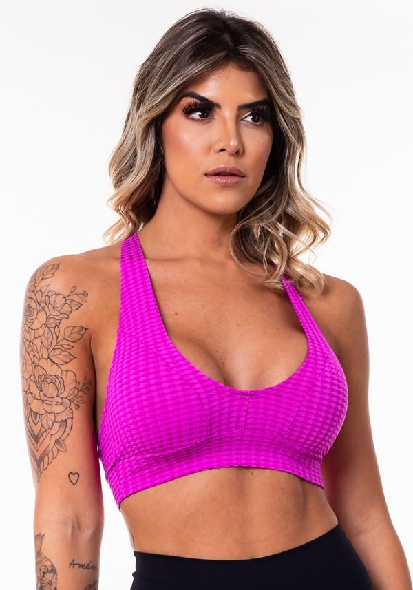 Top nadador poliamida texturizado rosa