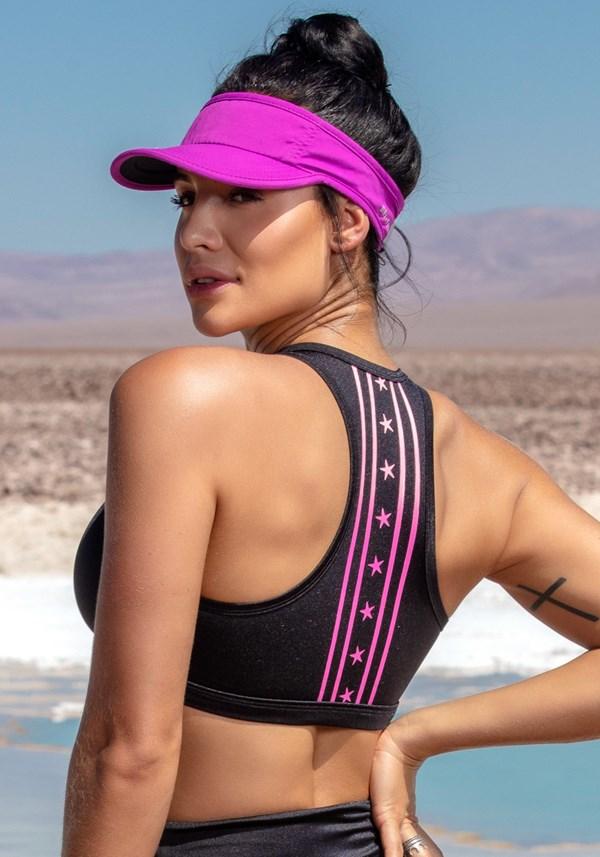 Produto Top nadador preto com silk estrela pink