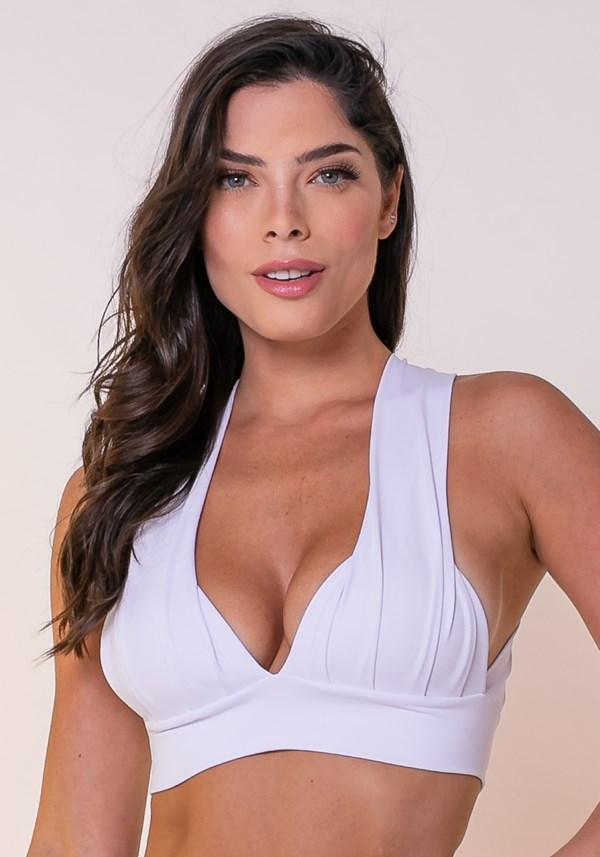 Top poliamida fitness drapeado branco com bojo