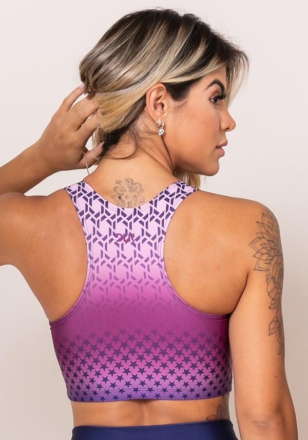Top sem bojo modelo nadador printed rosa e roxo