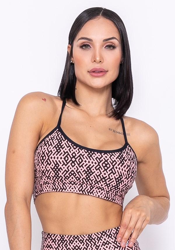 Produto Top sem bojo technology com elástico preto e rosa