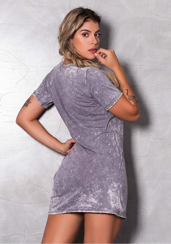 Vestido estonado cinza com detalhes em silk danger
