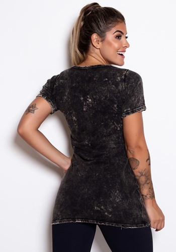 Vestido estonado preto com detalhes em silk danger
