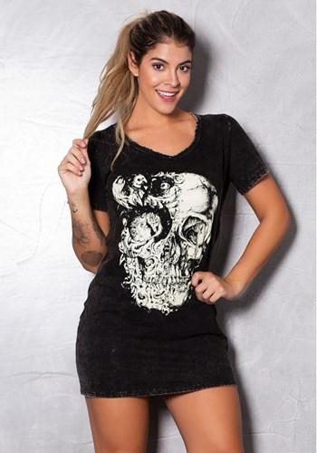Vestido estonado preto com silk skull