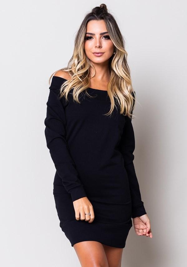 Vestido moletom preto manga longa
